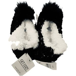 SALE Ann Taylor Slippers Furry & Knitted Black S